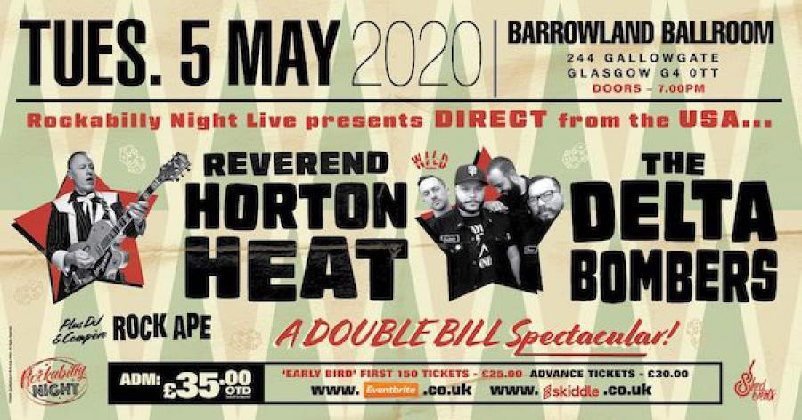 Reverend Horton Heat + Delta Bombers & Support from The Bikini Bottoms poster