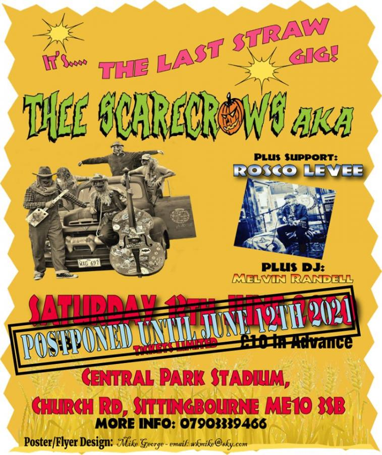 Thee Scarecrows AKA + support Rosco Levee - The Last Straw Gig poster